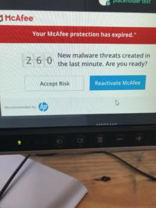 The crappiest known security software trying to scare you into sticking with them