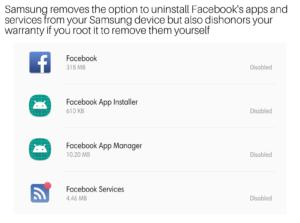 Samsung's insider agreement with Facebook gives no option to uninstall these invasive apps. If you succeed Samsung will invalidate your warranty. Welcome to Threat-ware.