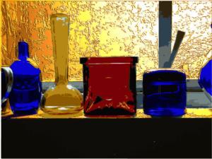 glass-bottles-sunset